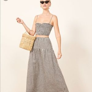 Reformation gingham crop top stretchy kitty S